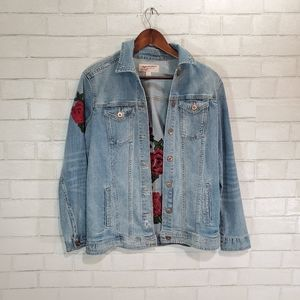 Floral embroidery jean jacket